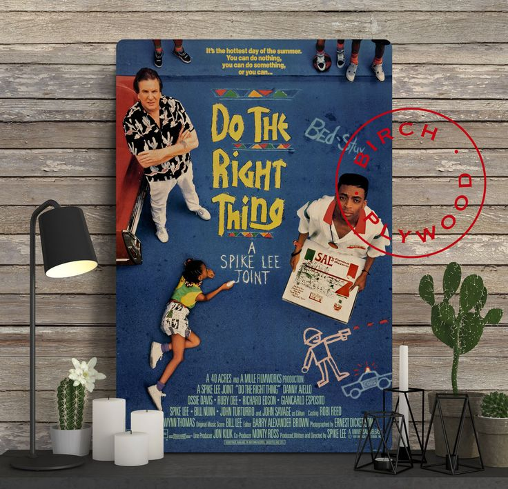 Do the Right Thing - Poster on Wood, Spike Lee, Danny Aiello, Ossie Davis, Ruby Dee, Movie Poster, Unique Gift, Print on Wood, Wood Gift by InHousePrinting on Etsy