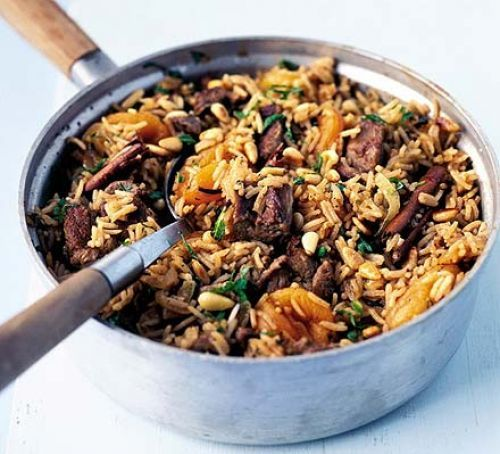 Pilau (Fulab, Fulao, Fulav, Kurysh, Palavu, Palaw, Pallao, Pelau, Pilaf, Pilav, Plov, Polo, Pulaav, Pulao): South Asia, Central Asia, Middle East & East Africa dish of rice cooked with seasoned stock, meat, nuts and fruit.