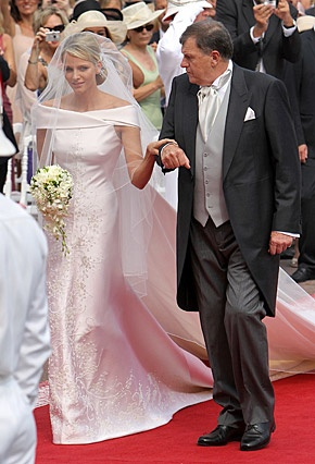 Princess Charlene of Monaco on her wedding day, this wedding was spectacular. So different than the usual snore of a royal wedding. She looked spectacular!