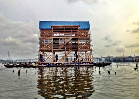 Half-building, half-boat, this floating structure provides teaching facilities for the slum district of Makoko.
