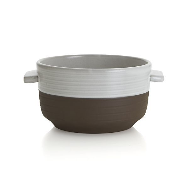 Studio Dark Clay Soup Bowl with Handles - beautiful French onion soup vessel
