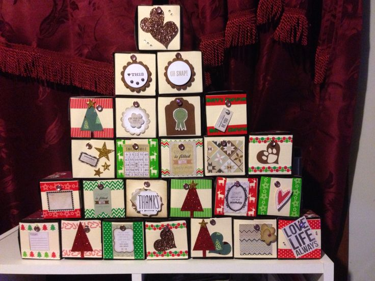 My Christmas Advent Calendar - handmade by Kerry http://scrappyboxcrafts.com. Pullout individual drawers to reveal a surprise 25 days before Xmas.