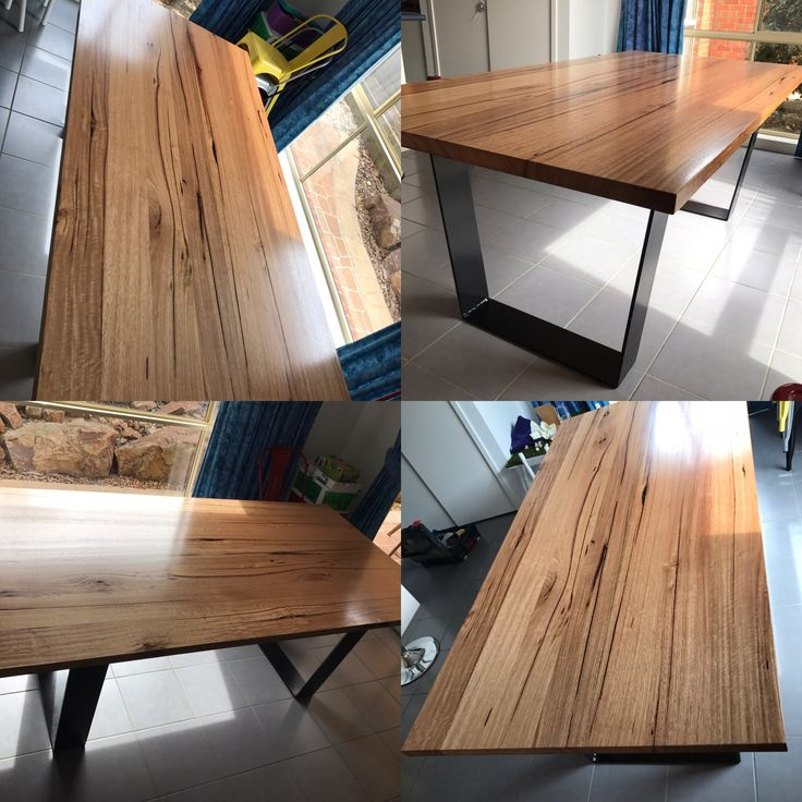 Solid messmate dining table with black metal legs