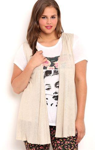 Deb Shops Plus Size Sleeveless Cozy with Hood $17.62