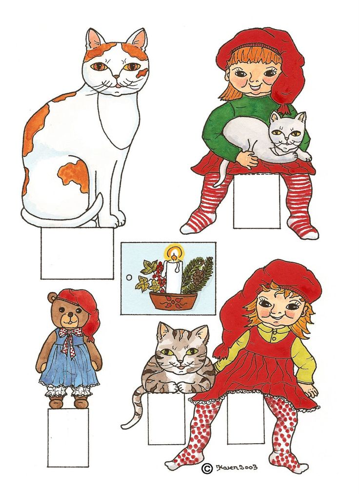 Paper Dolls Cut Outs | Christmas Cut-outs in Colours. Kravlenisser i farver.