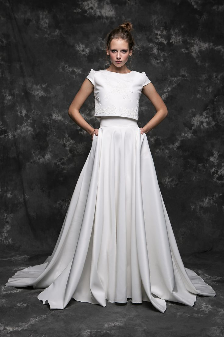Pureza Mello Breyner Atelier - silk satin top and skirt with cotton lace embroidered by hand #bride #modern #lace #cotton #silk #romantic #bridal #dress #designer #satin #handmade #by #measure