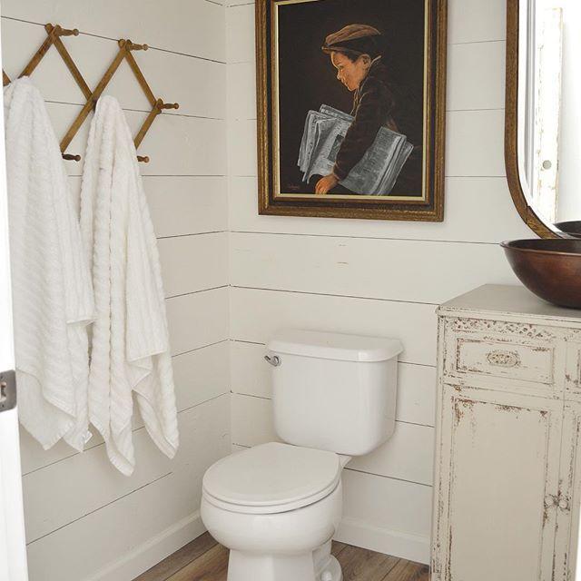 Bathroom Decor Powder Room Shiplap Walls Farmhouse Bathroom Vintage Painting Interior Design Small Vintage Porch House With Porch Vintage Bathrooms