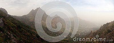 Panoramic view of the city Ribeira Brava, island Sao Nicolau. Panorama 11 photos
