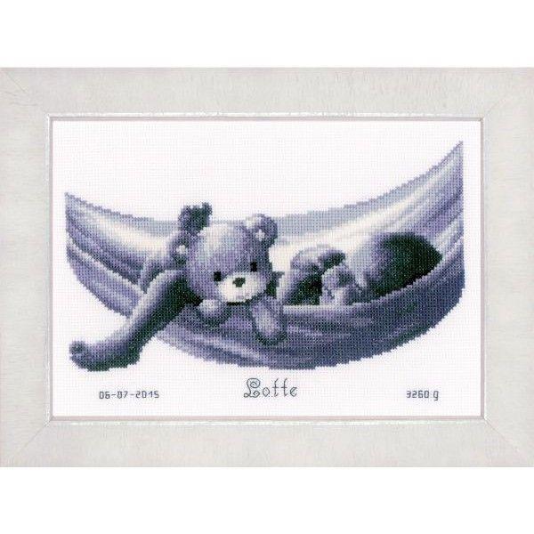 Borduurpakket Baby in hangmat - De Spinnerij borduurpakketten
