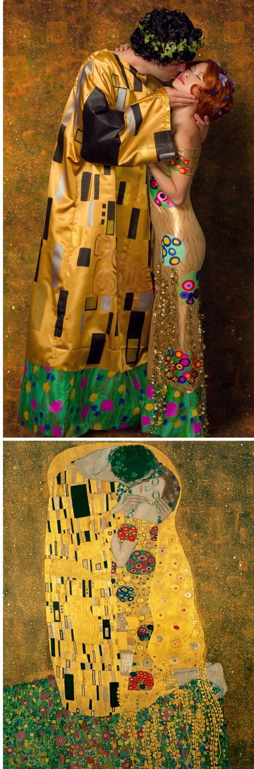 Costume Idea #32: You probably recognize this popular painting, The Kiss, by Gustav Klimt from posters in every girl's college dorm room.