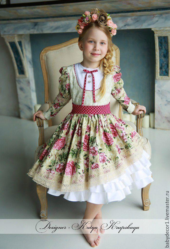 """Купить Платье """"Джейн"""" - бежевый, цветочный, платье для девочки, винтаж, американский хлопок, детская одежда"""