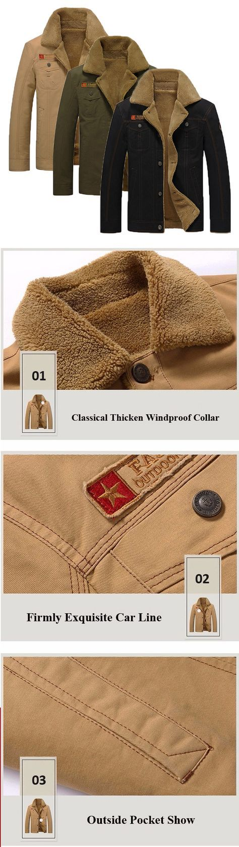 US$49.89 (48% OFF) Winter Outdoor Outfit: Thicken Warm Washed Turn-Down Collar Jacket for Men
