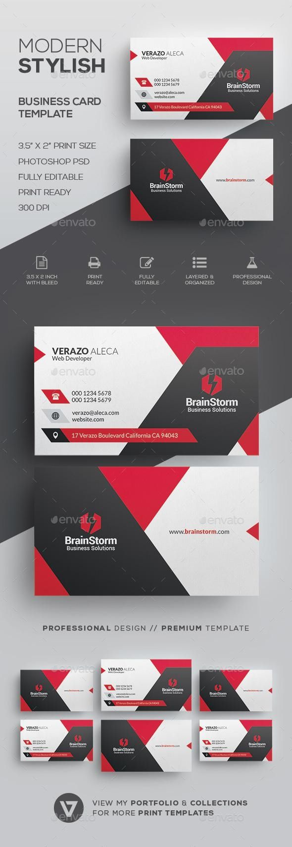 Modern Corporate Business Card Template Business Card Design Creative Business Cards Creative Modern Business Cards