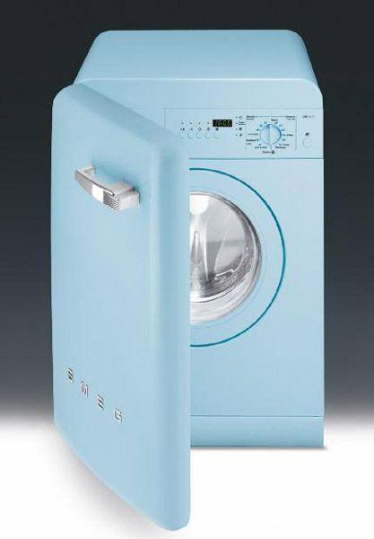 blue washing machine from smeg