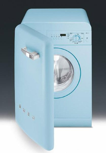 blue washing machine from smeg