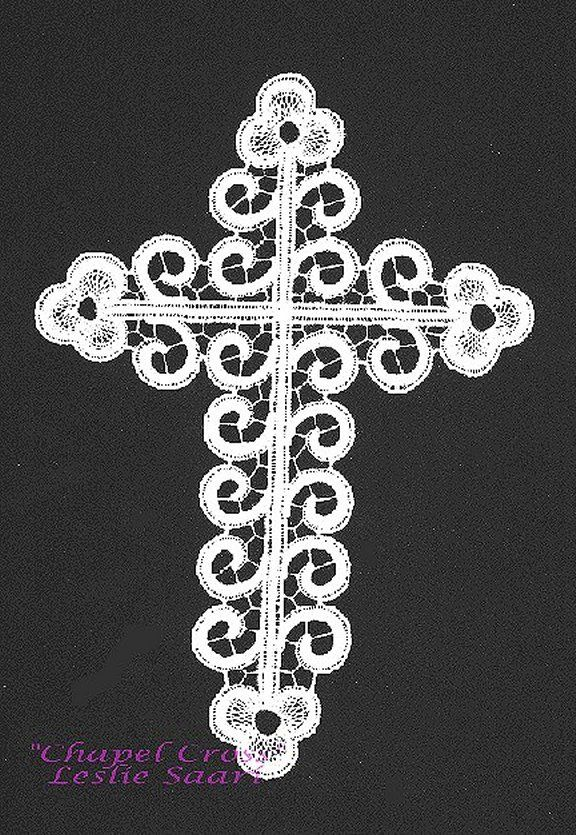 """""""Chapel Cross""""  Original design 1991 by Leslie Saari  7 1/2"""" x 11"""" worked in 40/2 Filato per Tombolo de Cantu cotton in white and Madera Glamour 2400 #8 opal   A modern adaption of Italian Cantu techniques"""