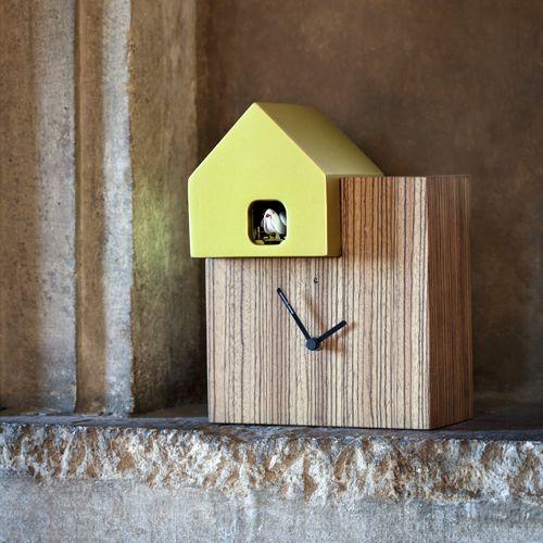 Horloge carrée en bois avec coucou Ettore Diamantini sur decoclico