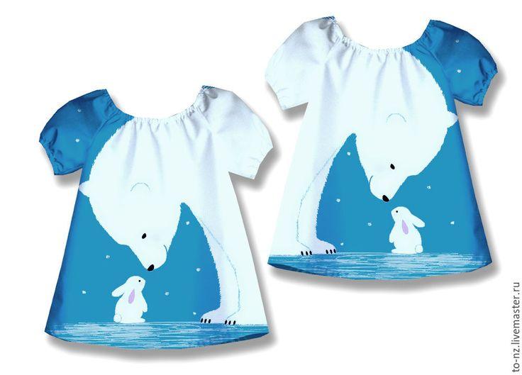 """Купить Новогоднее платье для девочки """"Мишка на севере"""" - рисунок, платье, голубой, белый, мишка, северный"""