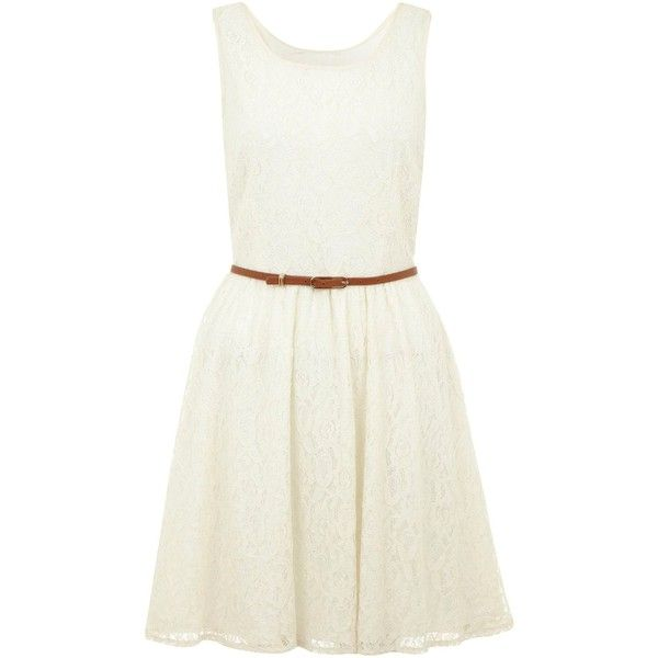 White lace dress yellow belt
