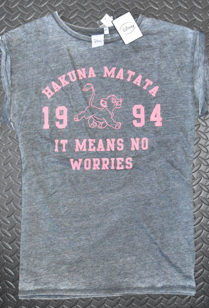 73567924 HAKUNA MATATA T SHIRT FADE EFFECT LION KING DISNEY WOMENS LADIES UK ...