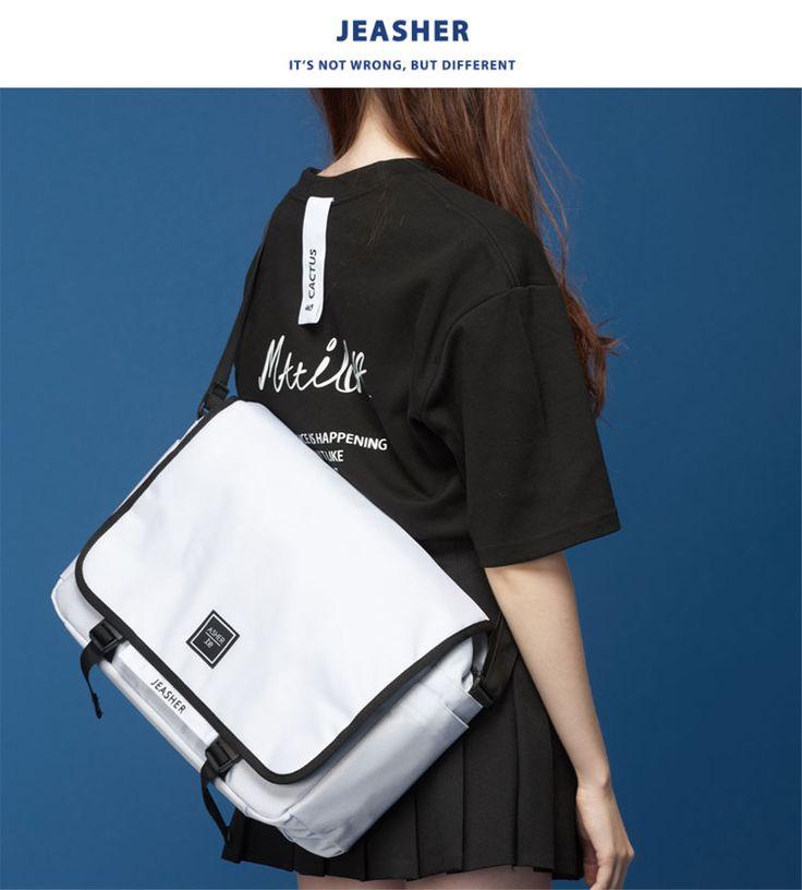 [JEASHER]ジェイアッシャー 韓国 白 ホワイト レディース メンズ メッセンジャーバッグ 斜め掛け ショルダーバッグ 通学 通勤 マザーズバッグ(ホワイト)