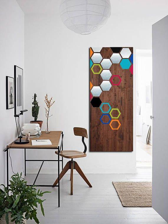 Wood Wall Art Metal Wall Art Modern Art Painting Geometric Art