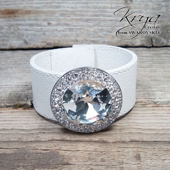 """Real Leather Bracelet with Swarovski Crystals Individual handmade product!, Real Leather Bracelet with Swarovski Crystals Material: real leather, Original Swarovski Elements, Stainless Steel Crystal Color: 1088 Xirius Crystal, 1201 27mm stone Crystal Size: 30mm (1,2"""") width 180-190mm (7,2""""-7,6"""") lenght. The lenght is adjustable with snaps."""