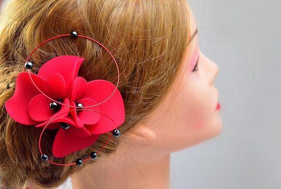 red fascinator hair piece headpiece hair flower hair clip wedding bridal fashion by #MyArtDeco