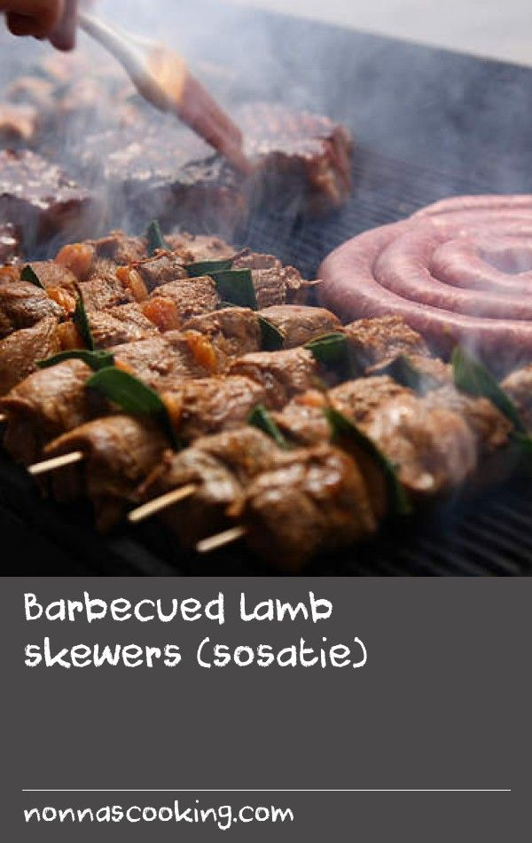 """Barbecued lamb skewers (sosatie)   The term """"braai"""" refers to both the equipment and the activity of barbecuing meat. It's a popular social activity in South Africa.Try thissimple recipe for succulent lamb to impress family and friends at your next barbecue."""