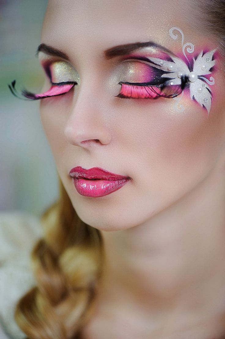 Artistic yellow, pink and white fantasy makeup with pink lashes and pearl & crystal accents by Zolotashko Make Up School.