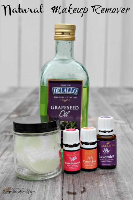 1/4 C grapeseed oil, 10 drops lavender, carrot seed, and frankincense oil on cotton rounds