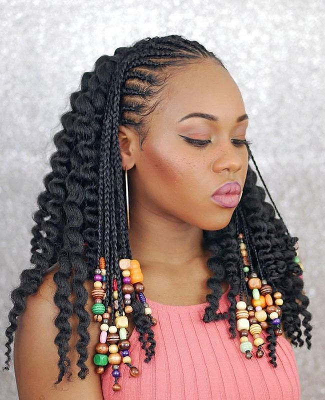 Braids With Multi Colored Beads In 2020 Braided Hairstyles Hair Styles Boho Braids
