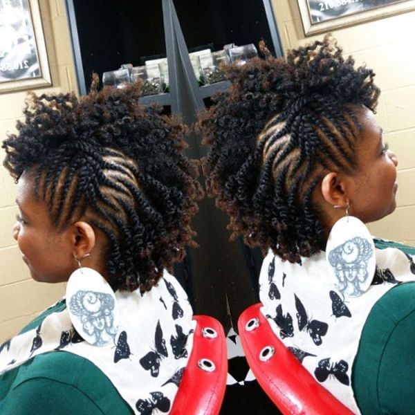 Curly Fauxhawk With Side Twists