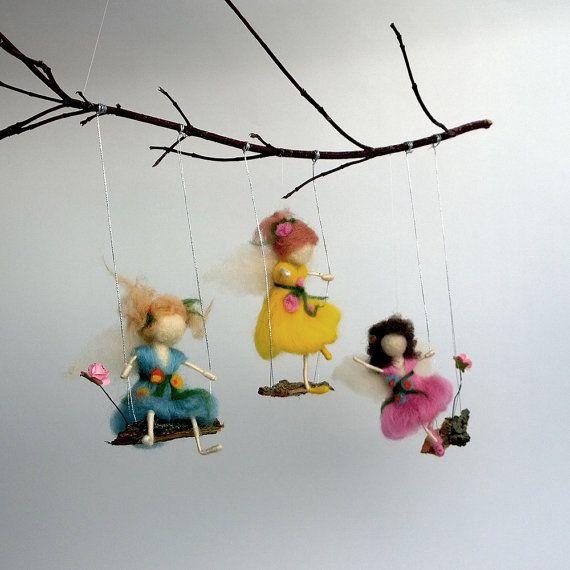 Móvil de hadas de fieltro Waldorf inspirado muñeca por CozyMilArt
