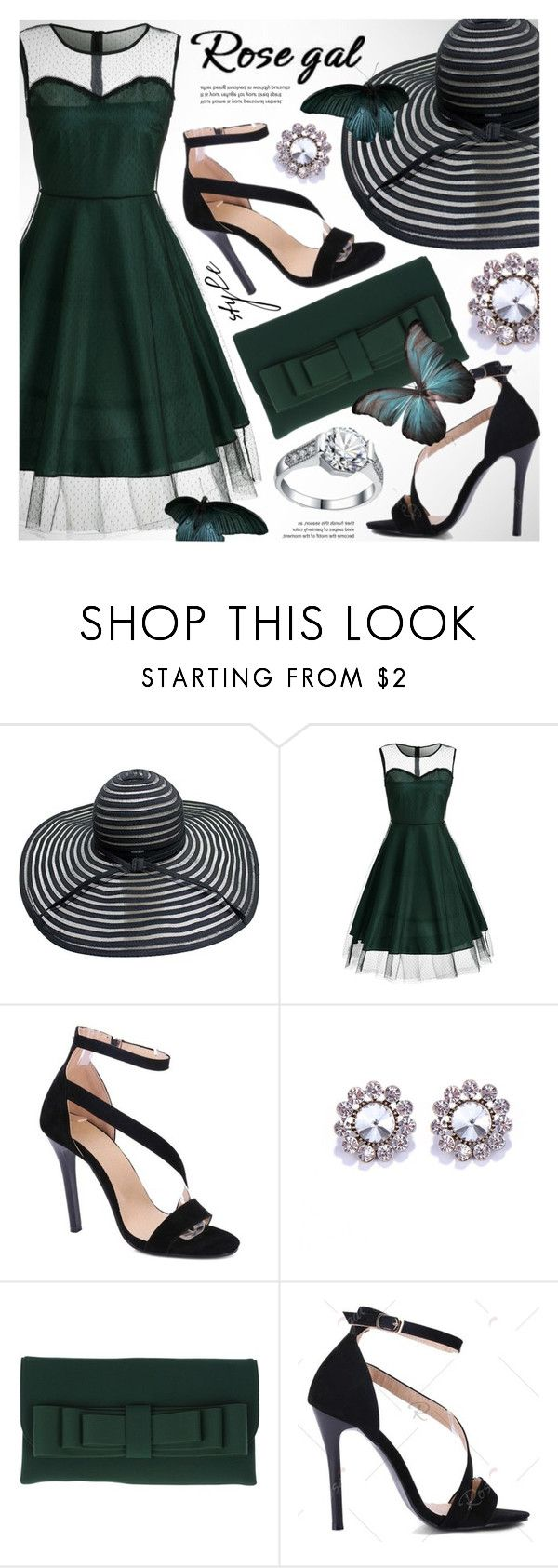 """ROSEGAL chic emerald mesh dress"" by vn1ta ❤ liked on Polyvore featuring La Fille Des Fleurs and Grace"
