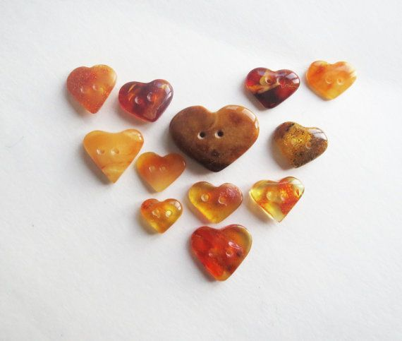 Baltic amber heart button decorative heart by WindCityTreasures, $7.00
