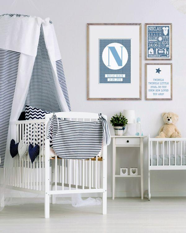Wanddekoration Babyzimmer   Personalisierter Poster   Schwarz  Weiss,  Schwarz  Weiss Mit Farbakzent Oder