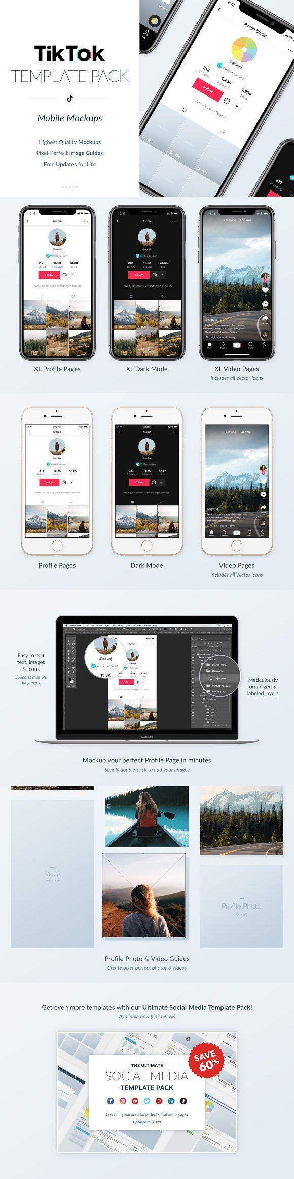Tiktok Mobile Mockups Pack Mobile Mockup Instagram Template Design Social Media Mockup