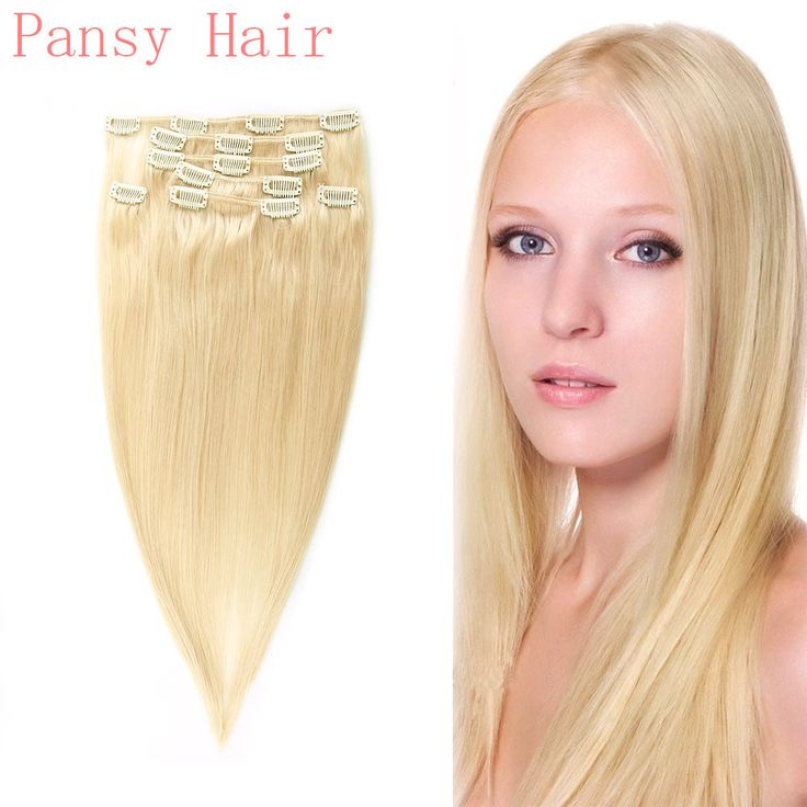 Remy Human Virgin Hair Straight Hairpieces Wigs Clip in Human Hair Extensions Full Head 15inch 18inch 20inch 22inch 613# Colour  //Price: $US $27.00 & FREE Shipping //     #fashion #women #wig #wigs #hair #blond #darkhair #beauty #style