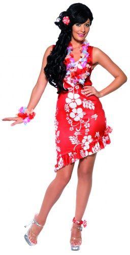"""Costume hawaiana donna: i fiori di ibisco su fondo rosso fanno subito """"hawaii"""". Questo bell'abito, corto e molto femminile, sarà perfetto per una allegra festa hawaiana in spiaggia!"""