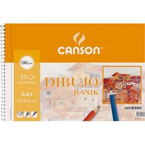 Block de dibujo con espiral de 20 hojas A4+ de dibujo Canson Basik en color blanco natural. Papel ligeramente satinado de 150 grs. Ideal para dibujo con lápiz, ceras, tinta, etc..