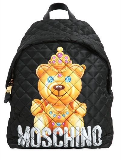 moschino - women - backpacks - large teddy bear quilted nylon backpack