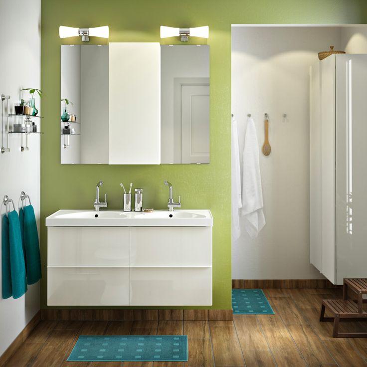Mobile per lavabo con 4 cassetti GODMORGON/EDEBOVIKEN lucido bianco e mobile a specchio GODMORGON