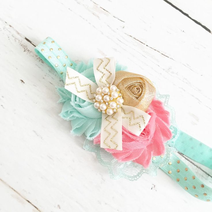 Mint seafoam coral gold sparkly bow  headband  by Goldfeatherboutique on Etsy https://www.etsy.com/listing/235700339/mint-seafoam-coral-gold-sparkly-bow