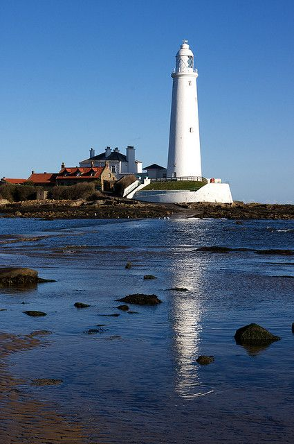 St. Mary's Lighthouse is on the tiny St. Mary's Island, just north of Whitley Bay on the coast of North East England.