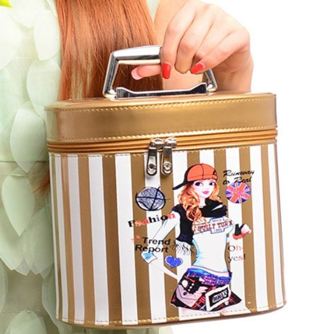 NEW Ladies PU Leather Color Stripes Bucket Style Portable Makeup Vanity  Case 2 Sizes Several Colors