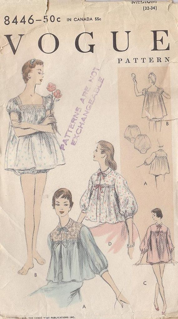 Vintage Vogue Sewing Pattern 1955 Lingerie Gown by RaimentRevival, $6.49