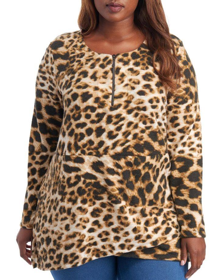 Thomas & Olivia Women's Plus Size Leopard Hacci Top | 2X |  polyester denim 1