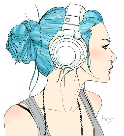 how to draw headphones on a person