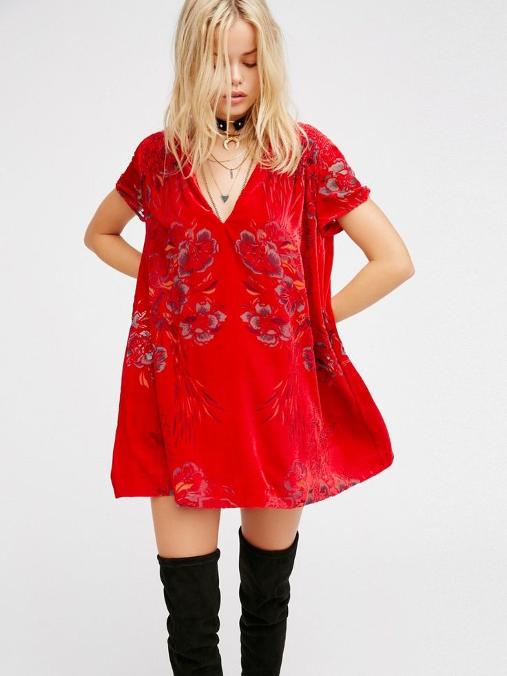 Actin' Single Velvet Mini Dress | Floral printed velvet mini dress in an effortless and oversized shape with a V-neckline, short sleeves, and smocked detailing on the shoulders. Keyhole opening in back with a button closure. Lined.